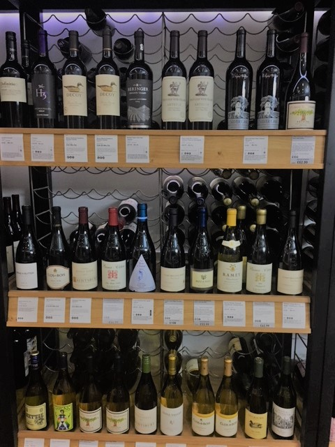 California wines in Majestic Wine Shop in London