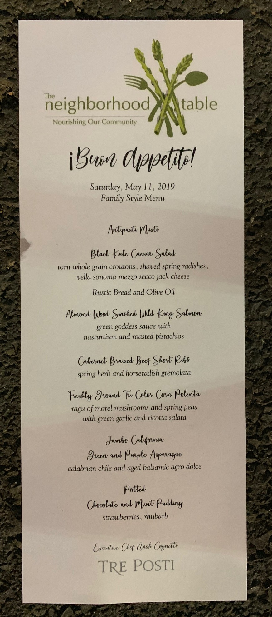 2019 St. Helena Neighborhood Table Dinner Dinner Manu